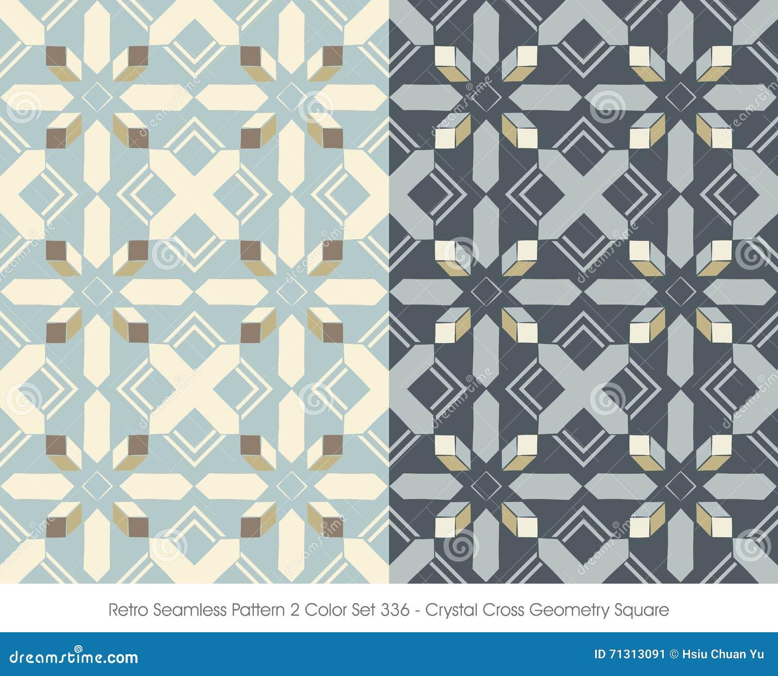 Retro colore senza cuciture Set_336 Crystal Cross Geometry Square del modello 2