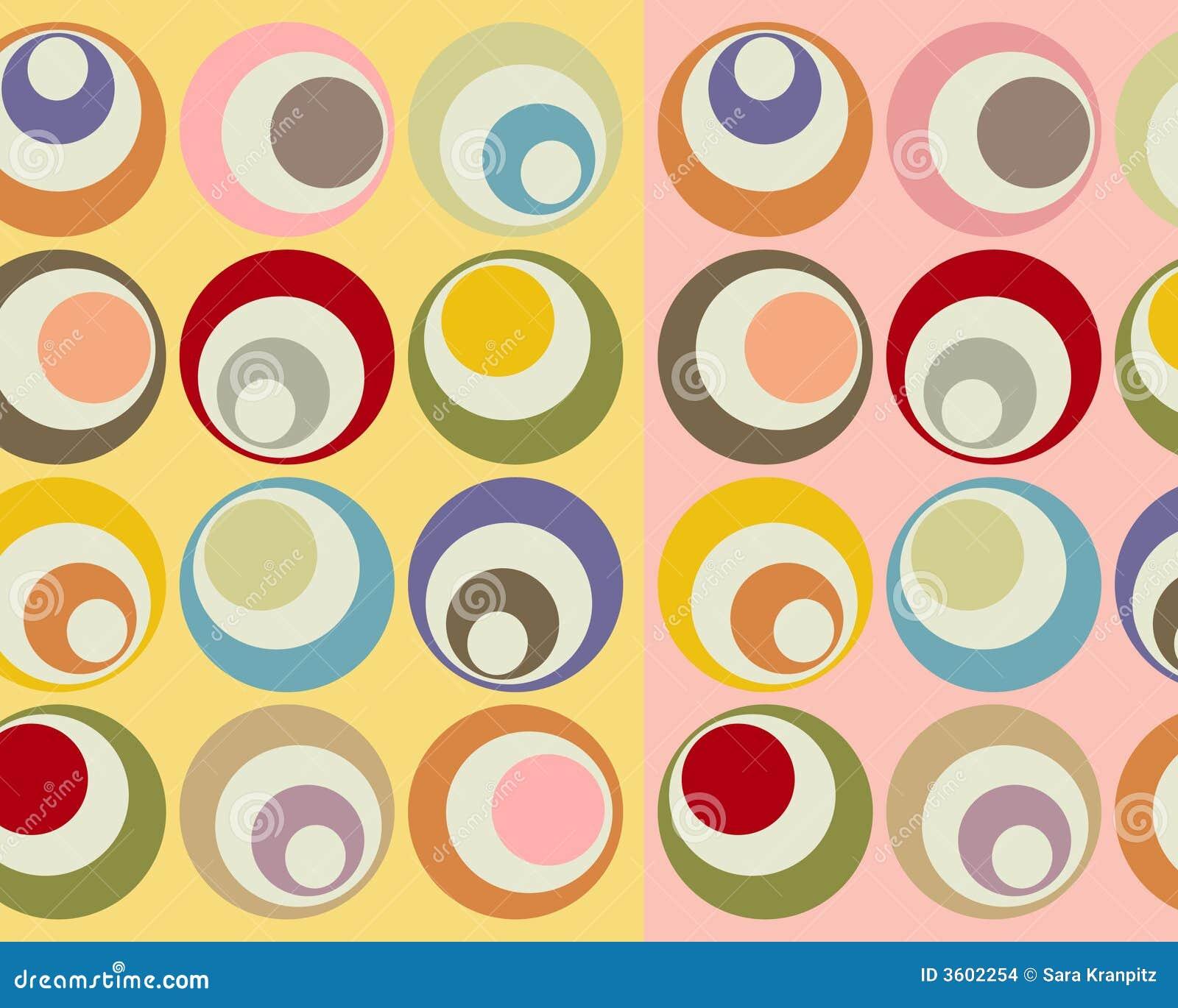 Retro colorful circles collage