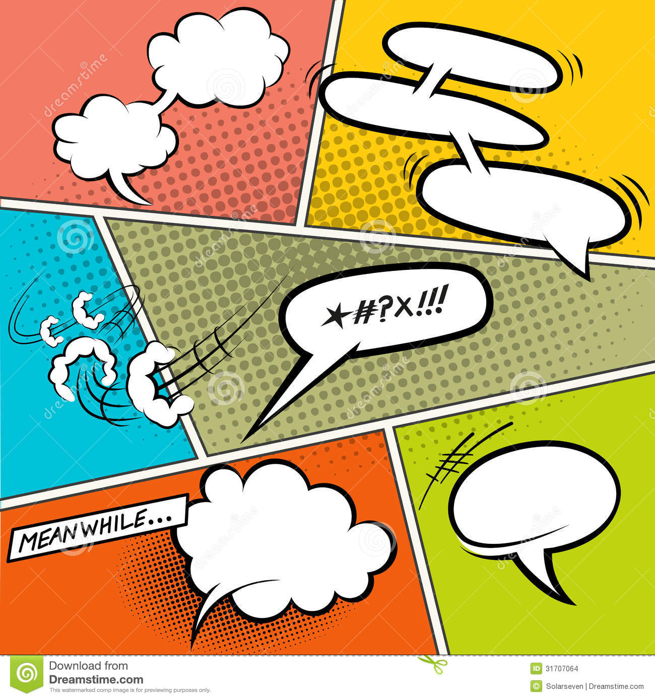 Retro Comic Speech Bubbles Stock Vector Image Of Element