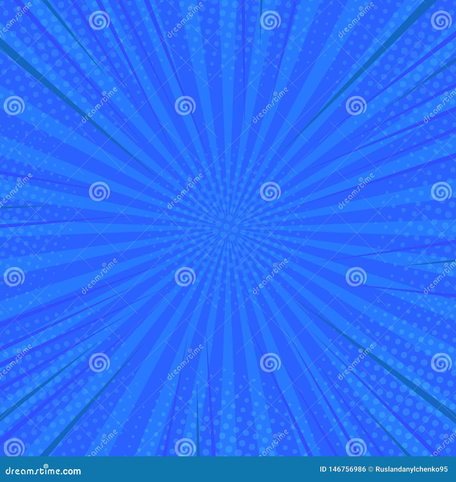 Retro comico di Pop art Supereroe blu del fondo Punti del semitono di scoppio del fulmine Fumetto contro Illustrazione di vettore