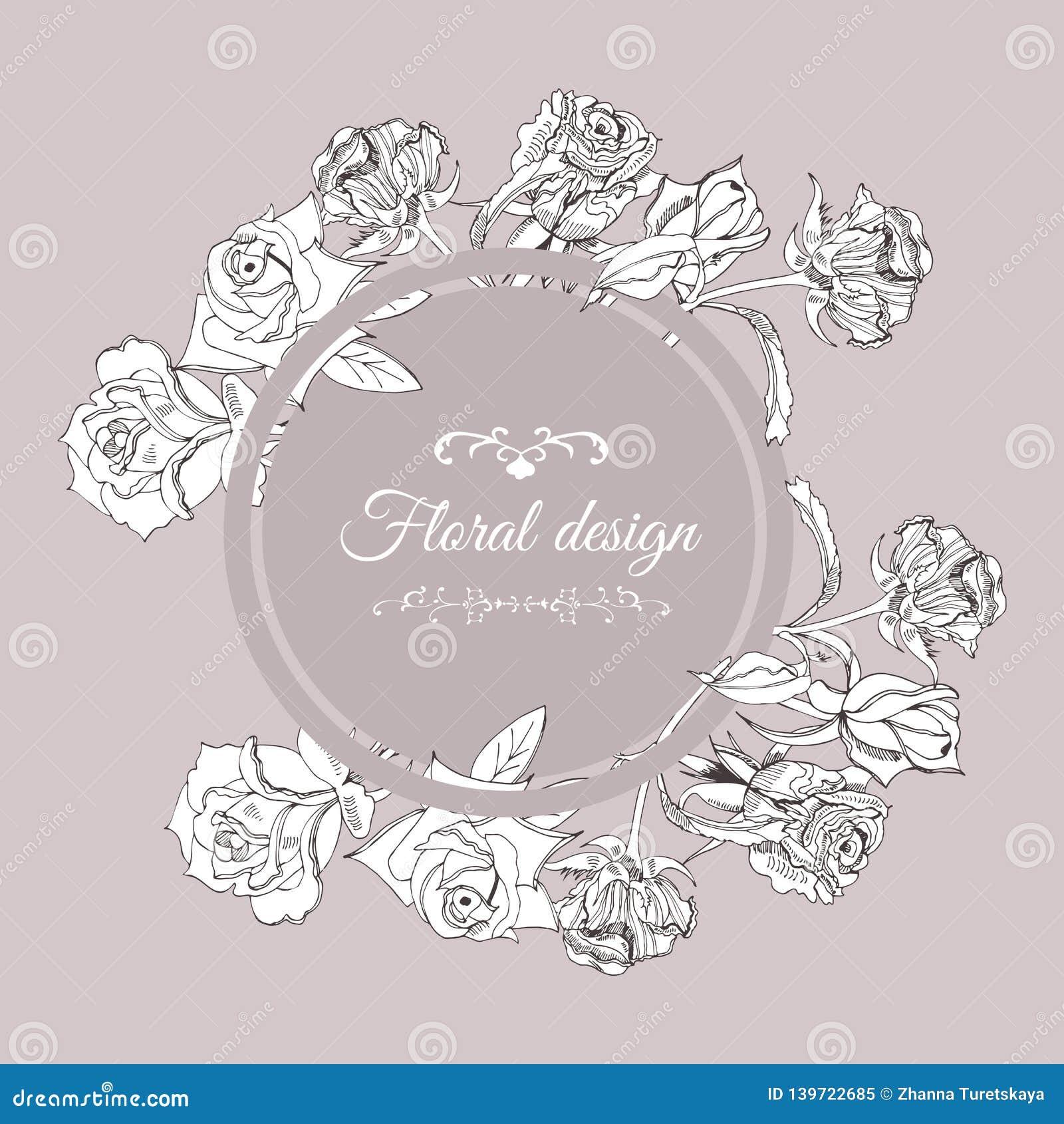 Retro composizione nel cerchio con i fiori rosa con le foglie sul fondo di seppia Schizzo disegnato a mano dell inchiostro