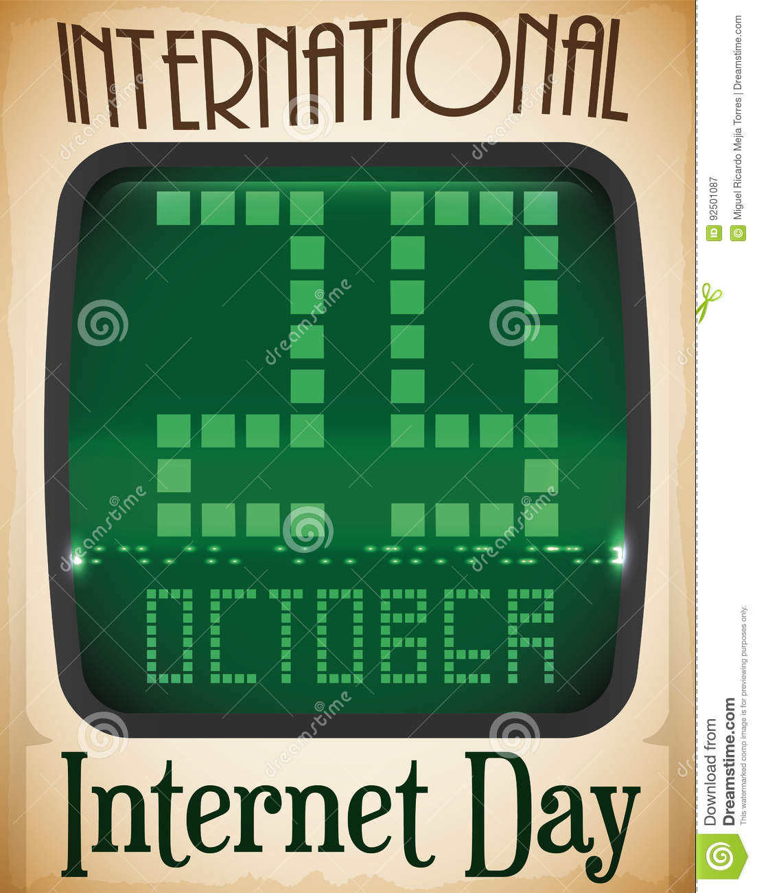 Retro Computer Screen and Reminder Date for Internet Day, Vector Illustration