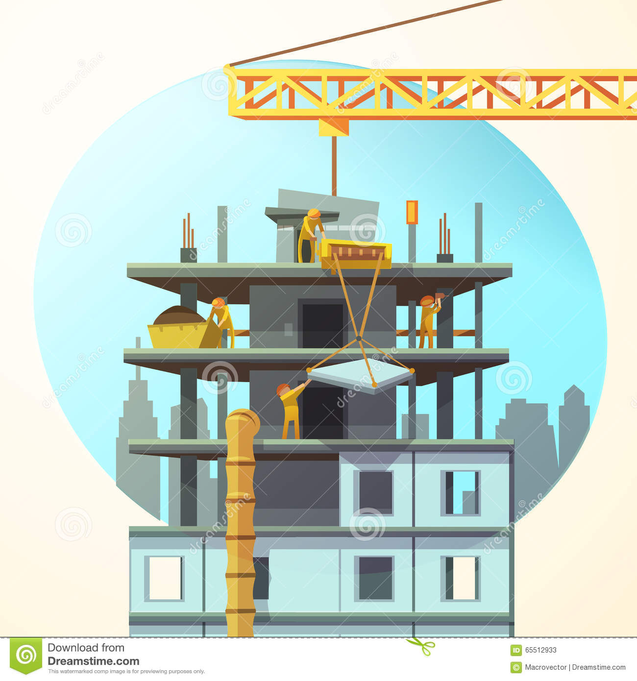 Cartoon construction building images for Home building sites