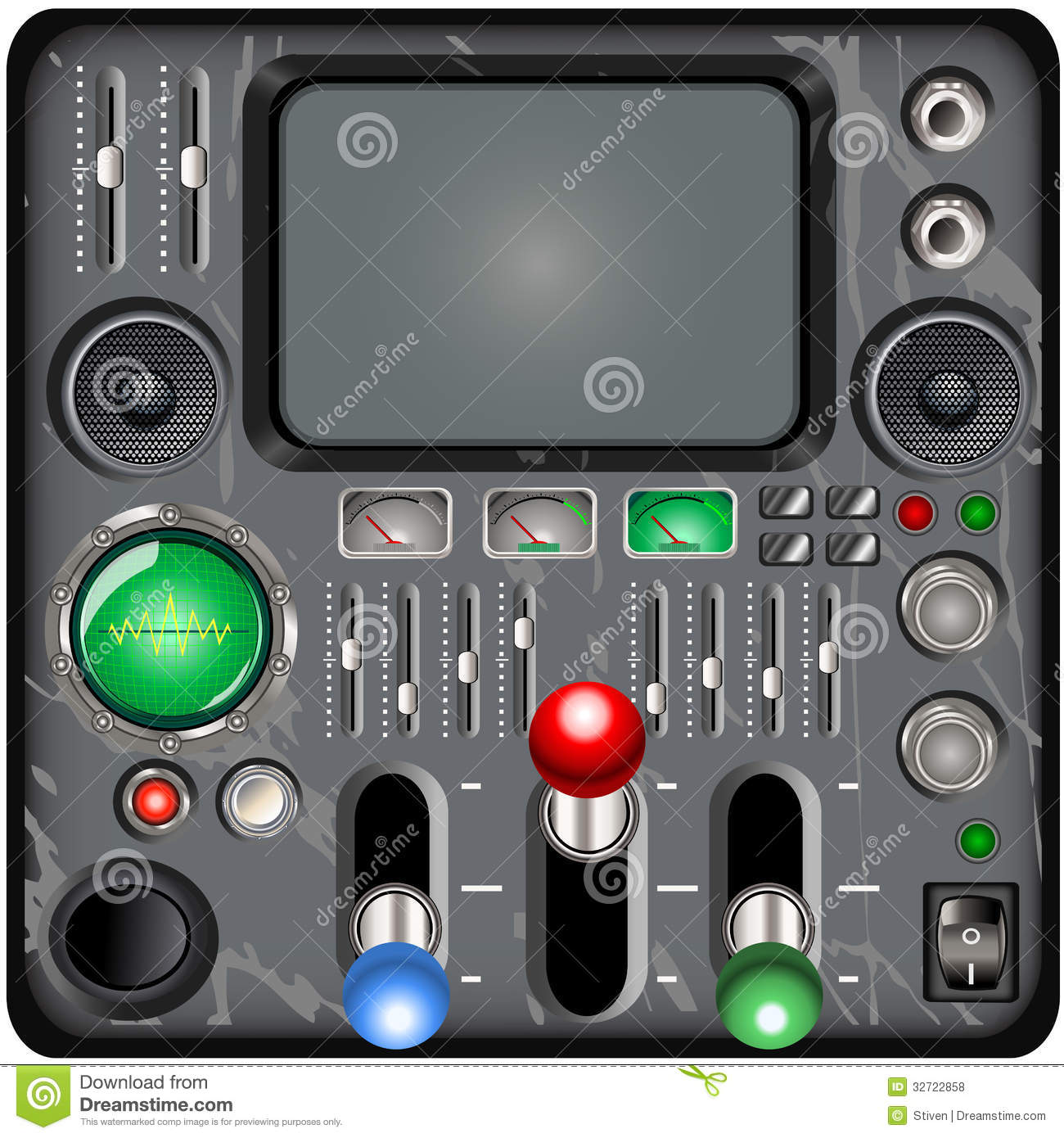 Time Control Panel : Retro control panel stock vector illustration of nobody