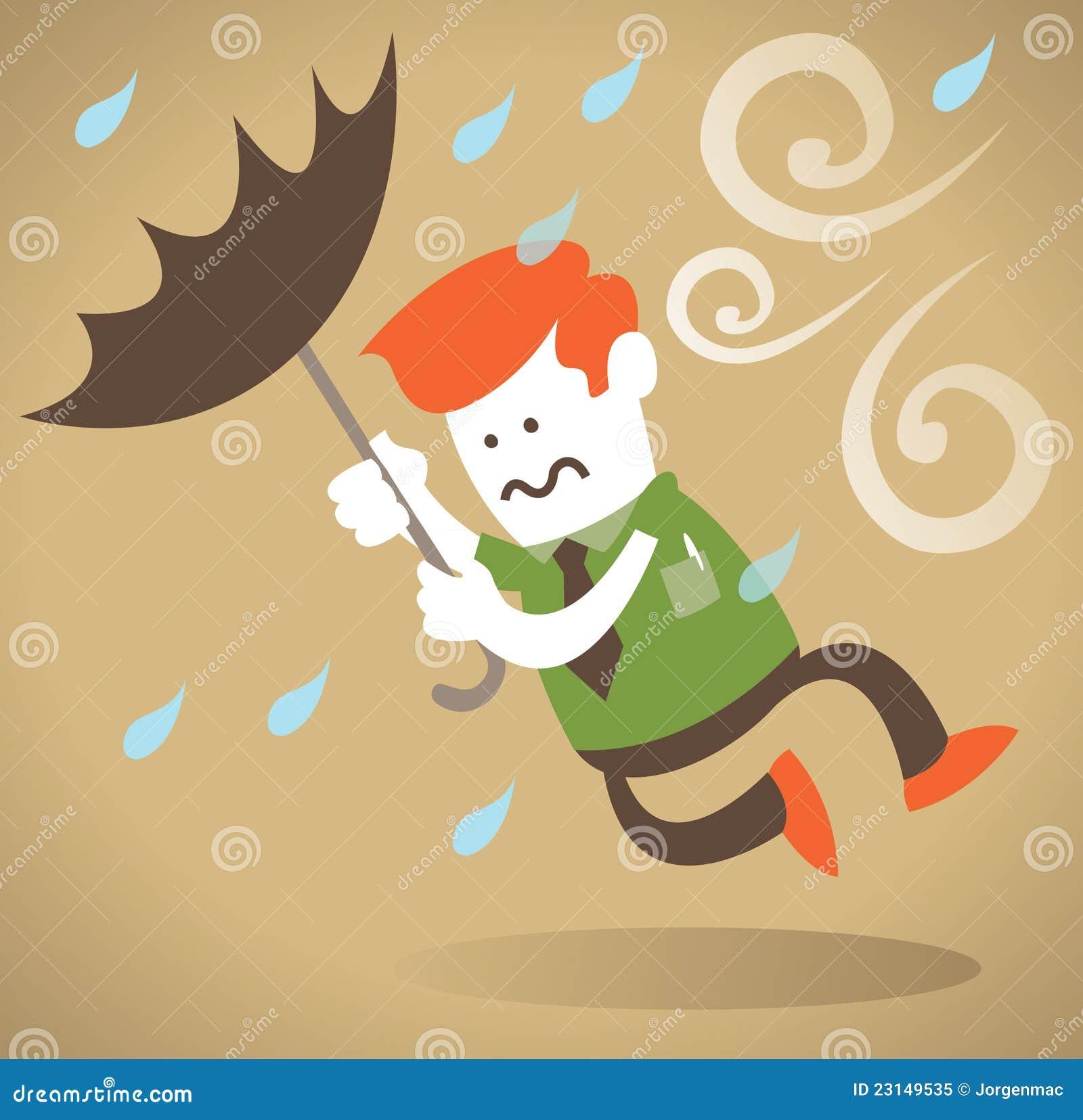 Retro Beach Illustration Royalty Free Stock Photo: Retro Corporate Guy Blown Away With Umbrella. Stock Vector