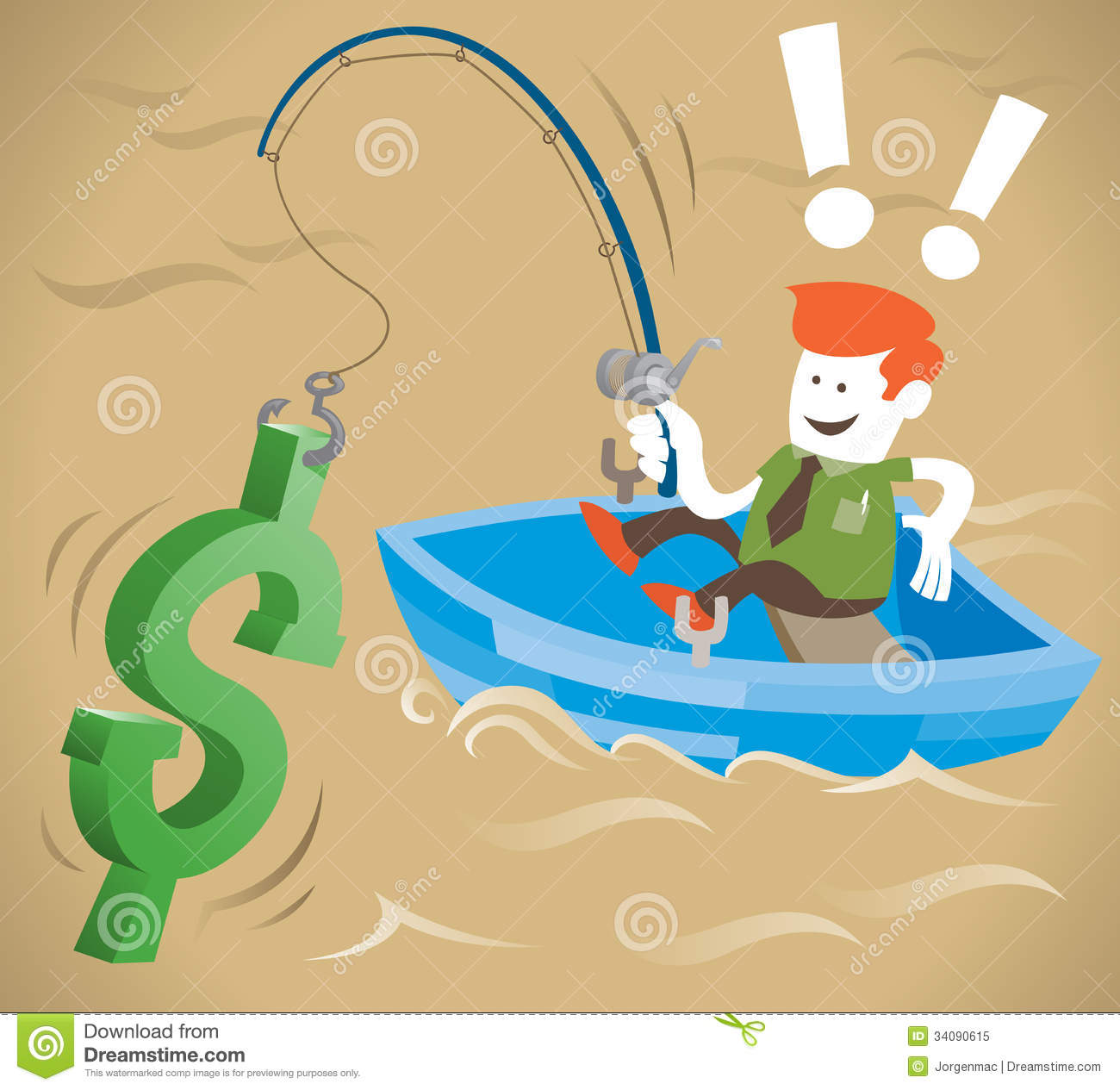 Retro corporate guy is fishing for money royalty free for Fish for cash