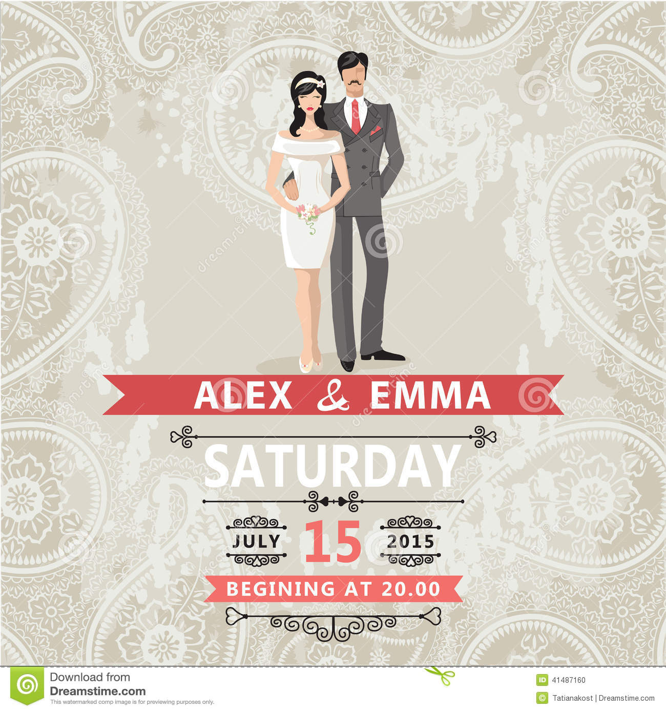 Retro Couple Bride And Groom.Wedding Invitation With Paisley Lac ...