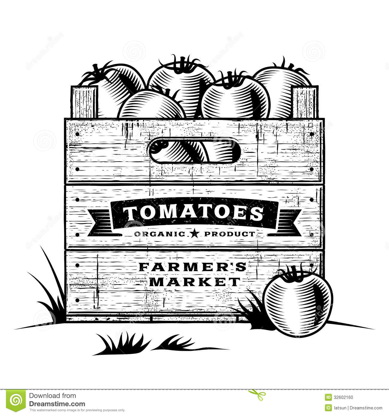 retro crate of tomatoes black and white stock vector