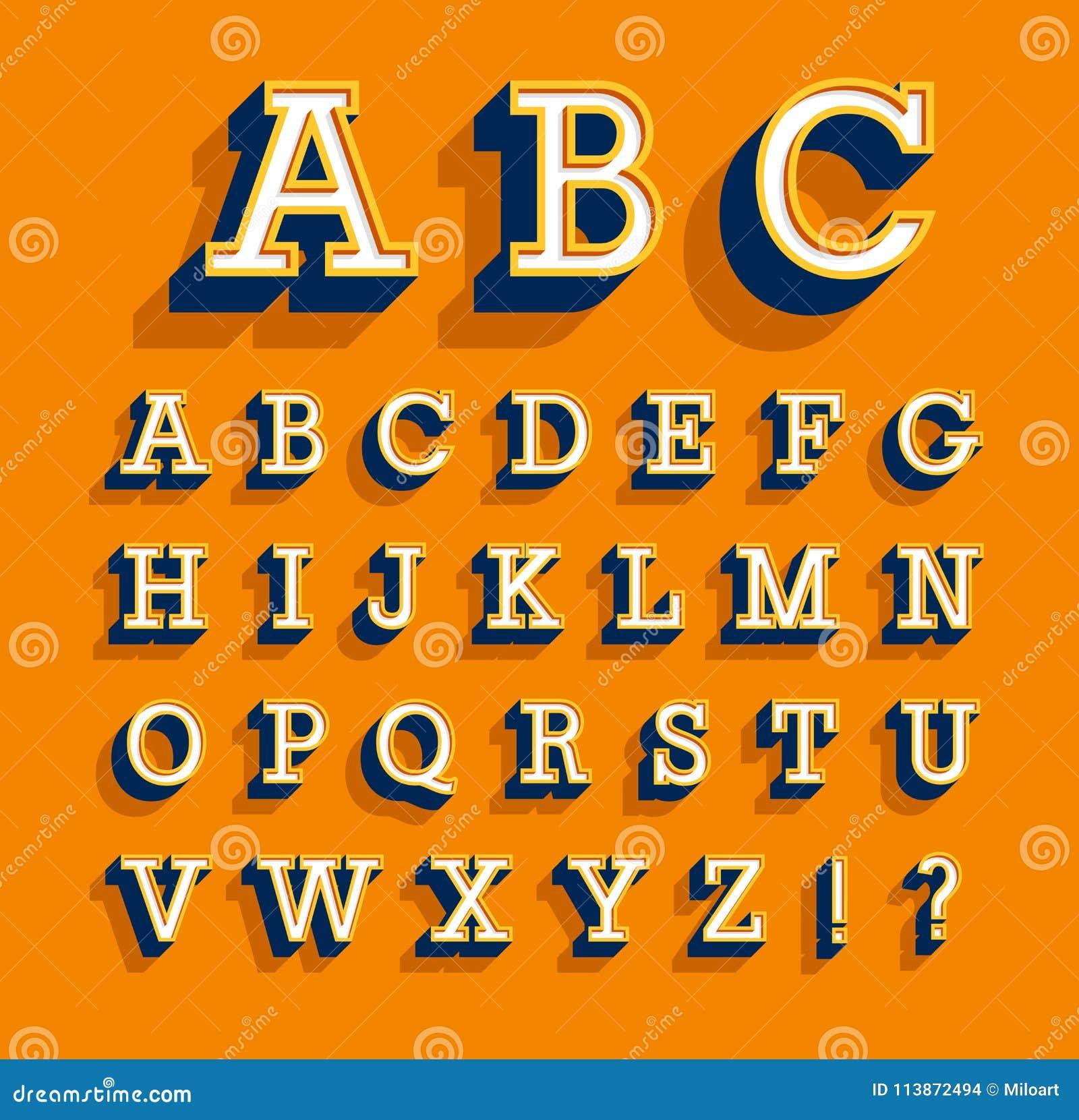 Retro creative alphabet.