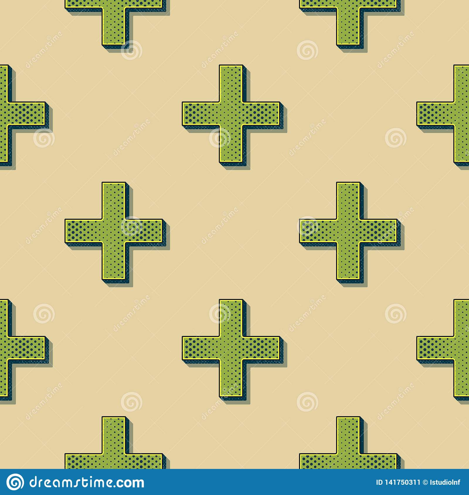 Retro Crosses Pattern, Abstract Geometric Background In 80s