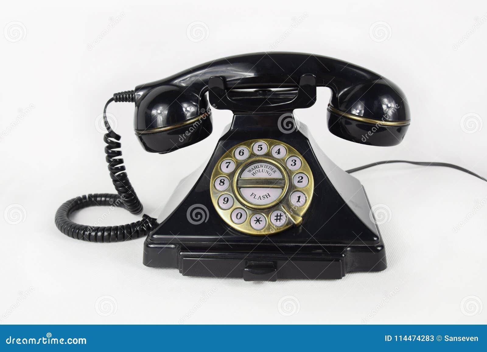 Retro Czarny telefon Odizolowywający