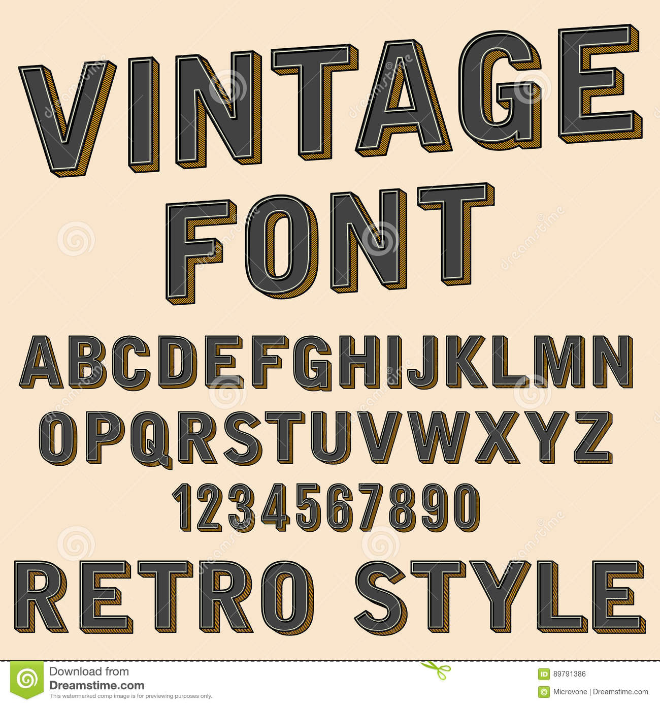 Retro 3d alphabet and number sign old typography style for Classic house number fonts