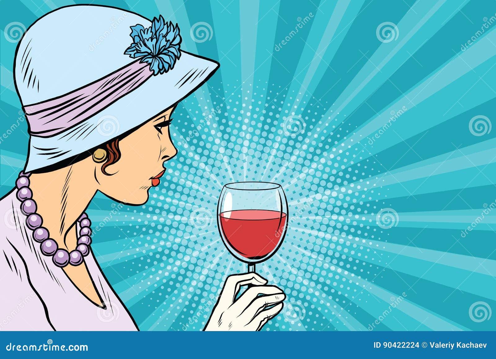 Retro dama z szkłem wino