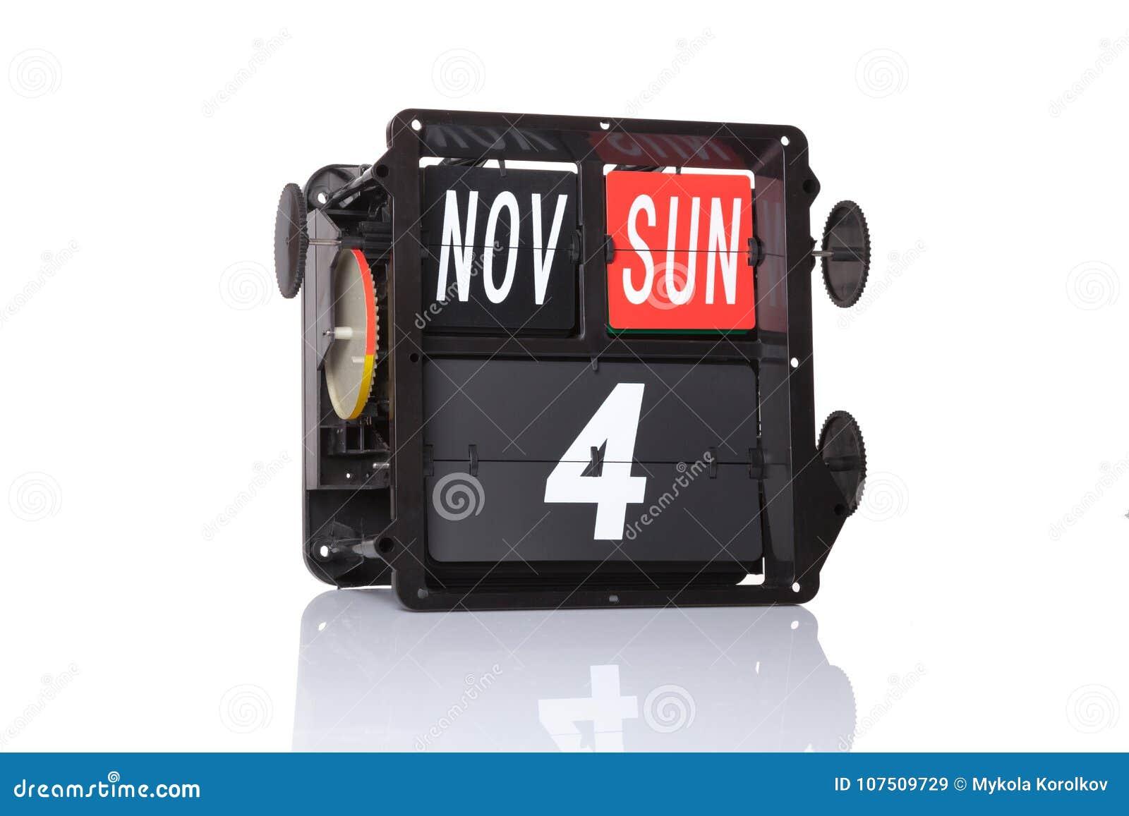 Calendario Meccanici.Retro Data Del Calendario Meccanico Isolata Immagine Stock