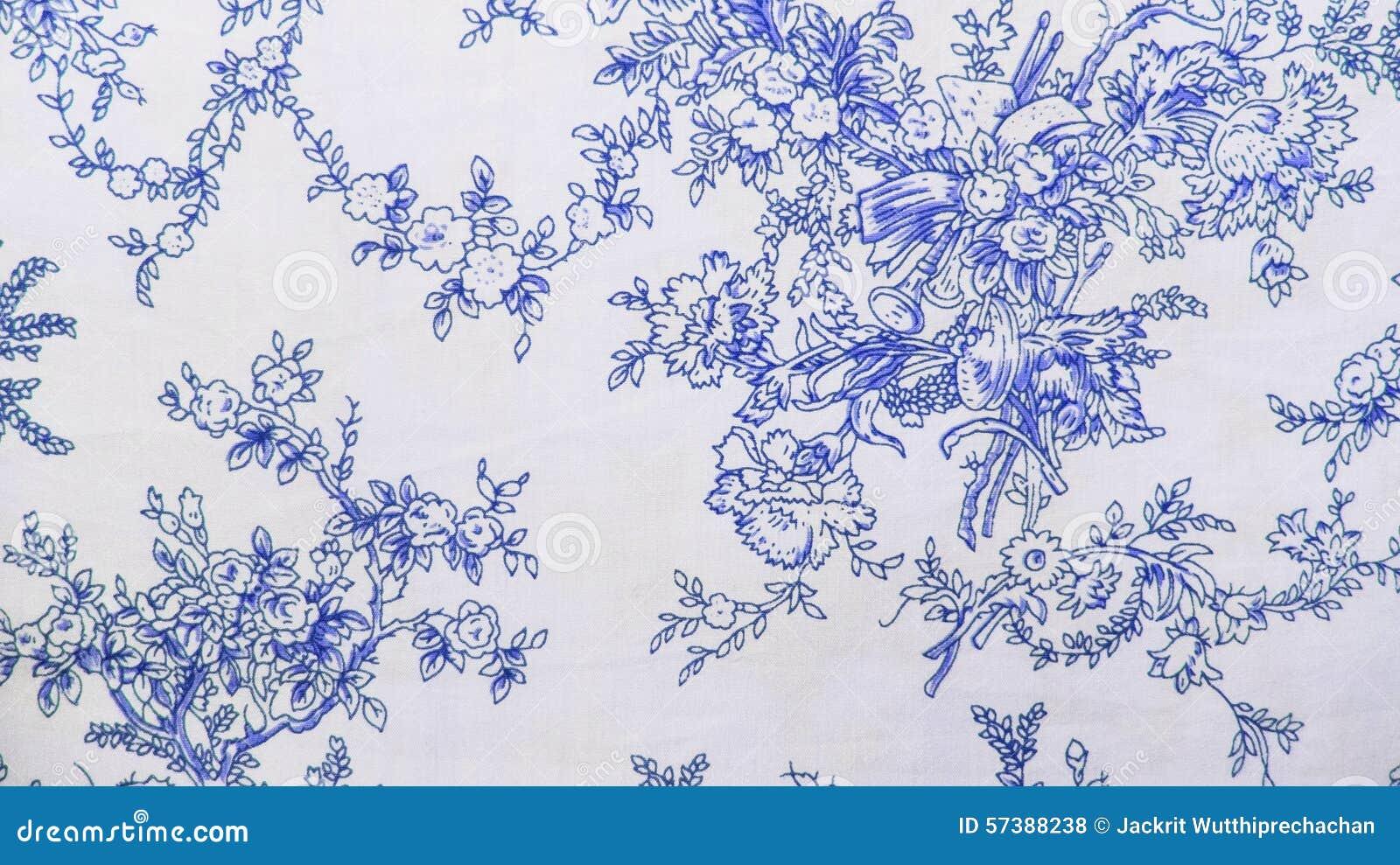 Retro de Stoffen van het Kant Bloemen Naadloze Patroon Blauwe Uitstekende Stijl Als achtergrond