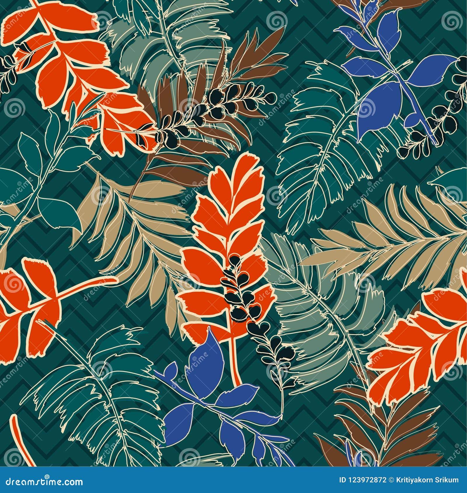 Retro de zomer tropische bladeren met hand getrokken overzicht op zigzag l