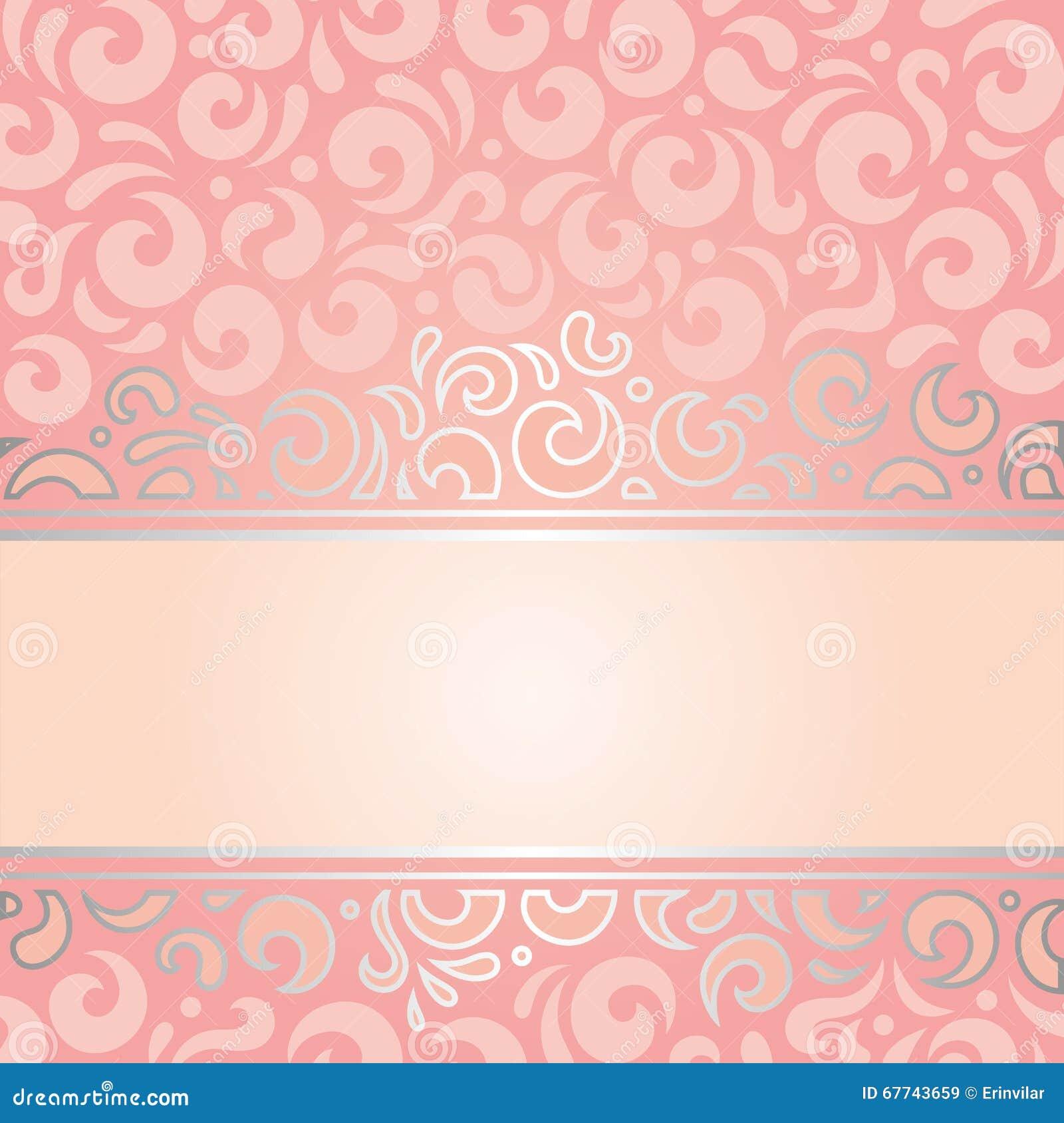 Retro Decorative Pink Silver Invitation Vintage Wallpaper