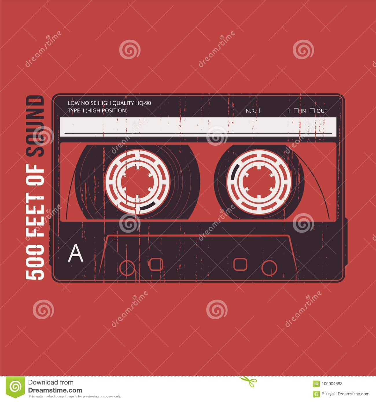 Retro design with a cassette tape. T-shirt and apparel vector pr