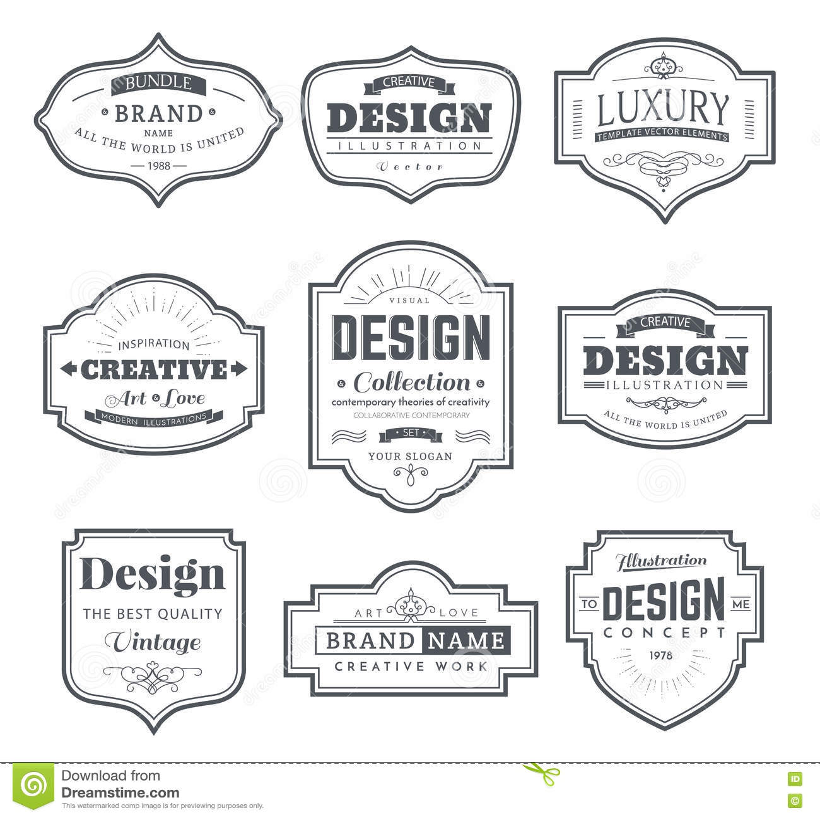 Retro design creative vintage labels stock vector image