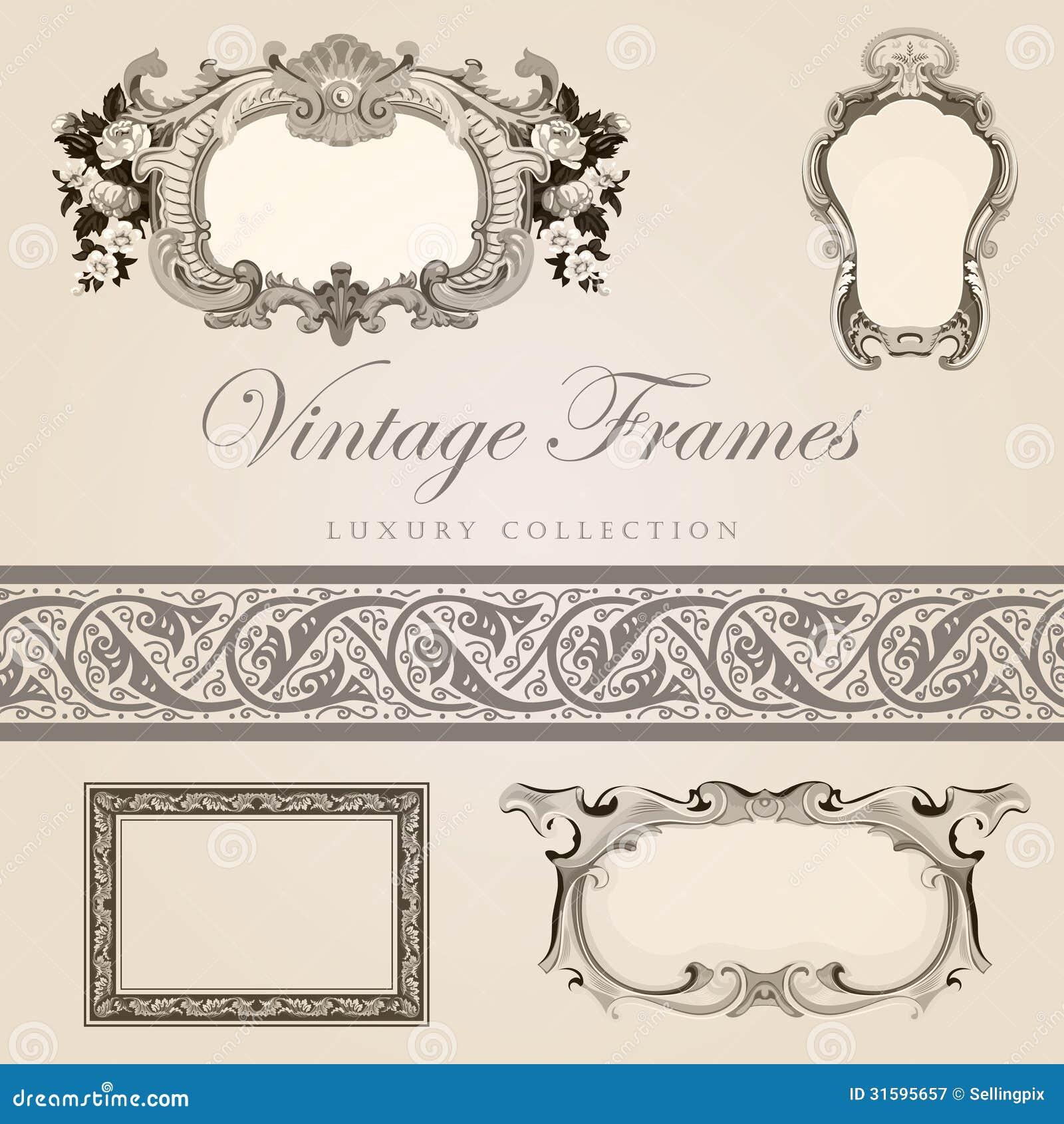 Retro Design Template Vintage Frames With Border Royalty