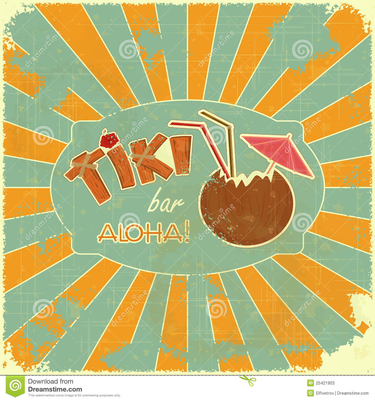 retro design tiki bar menu stock vector image of hawaii