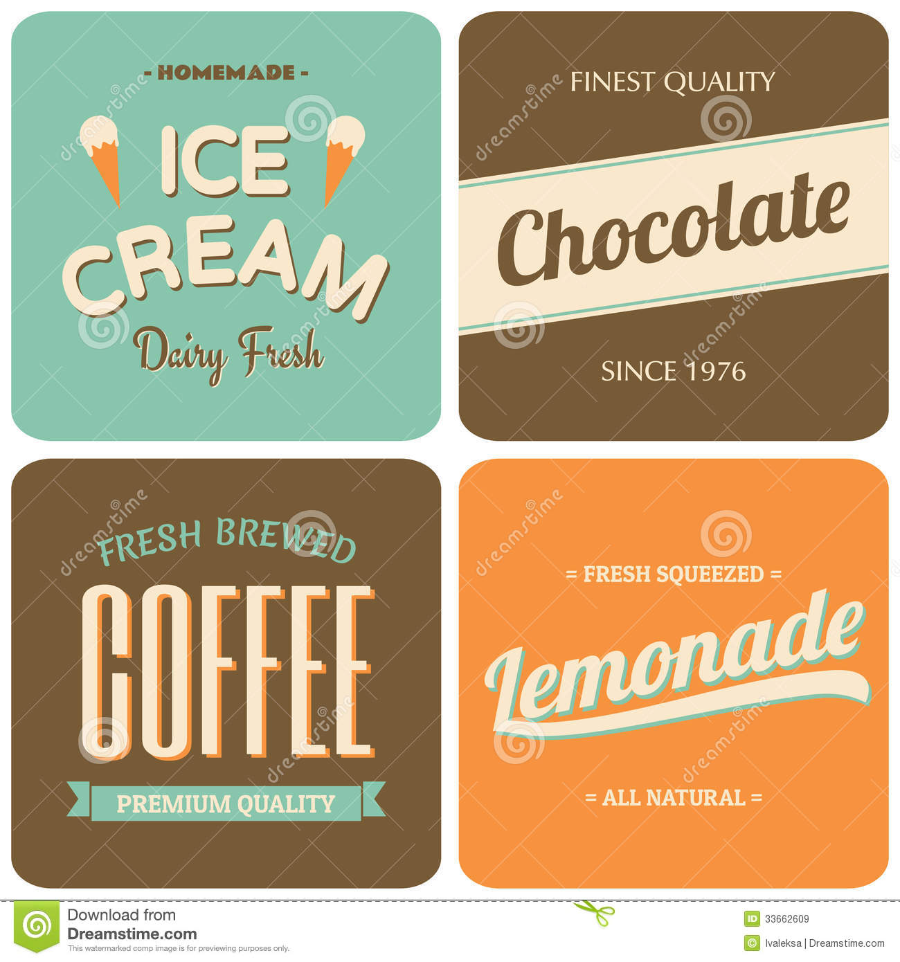 ... designs - packaging for coffee, ice cream, chocolate and lemonade