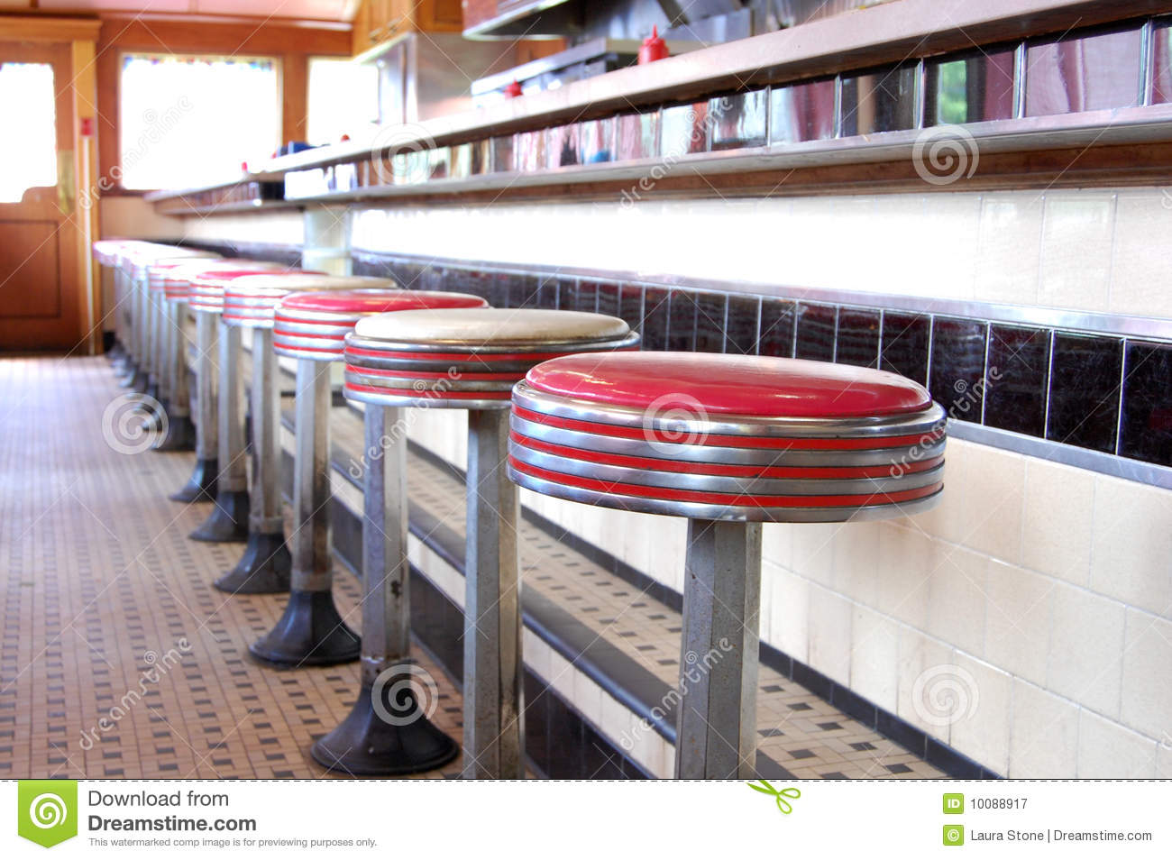 Retro Diner Stock Image Image Of Counter Dining Stool