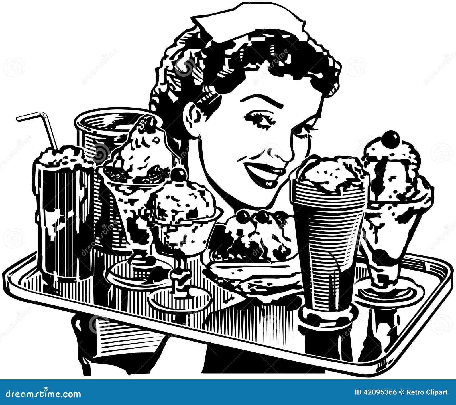 Retro Diner Waitress Stock Vector - Image: 42095366