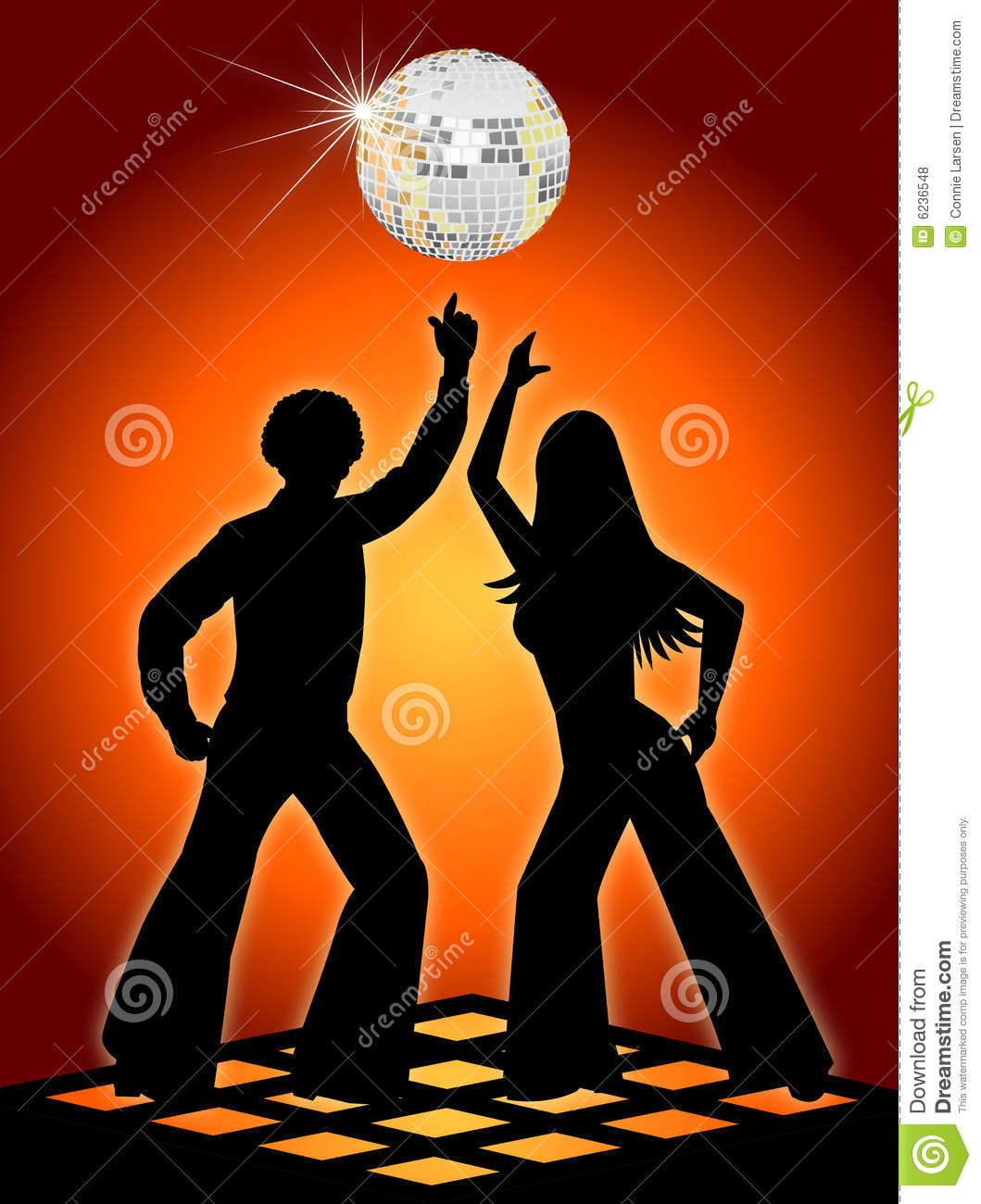 Silhouette illustration of two retro, seventies-style disco dancers in ...