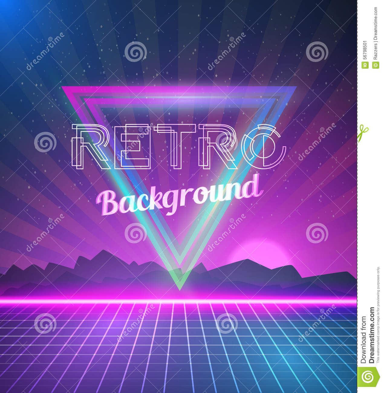 80s poster design - Retro Disco 80s Neon Poster Made In Tron Style With Triangles F Stock Image