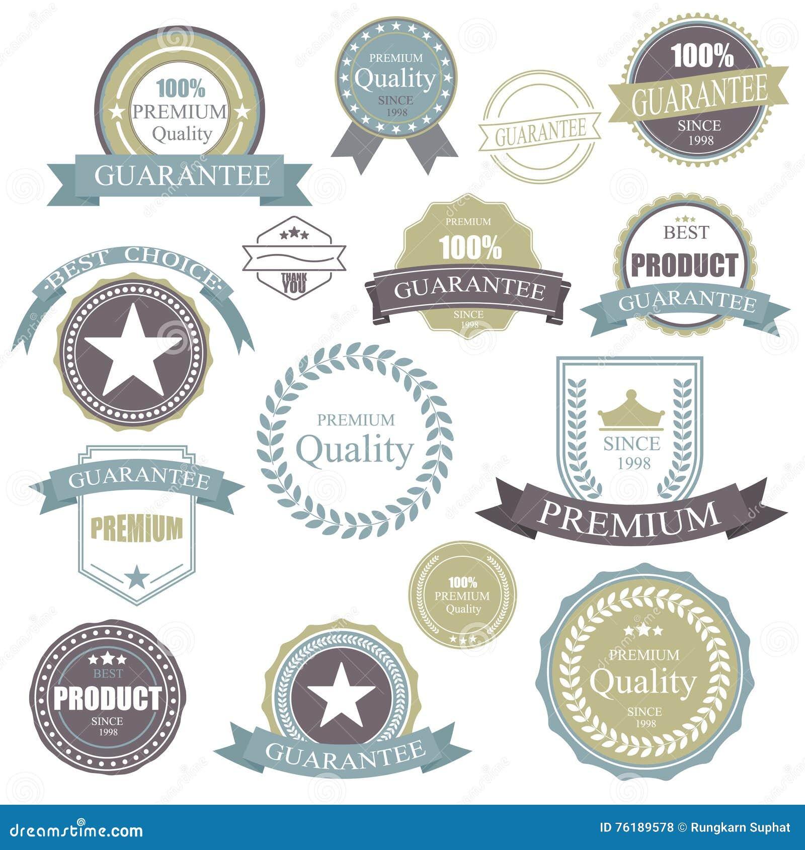 Retro distintivo d annata Struttura di marchio di qualità premio degli elementi Distintivi ed icone messi