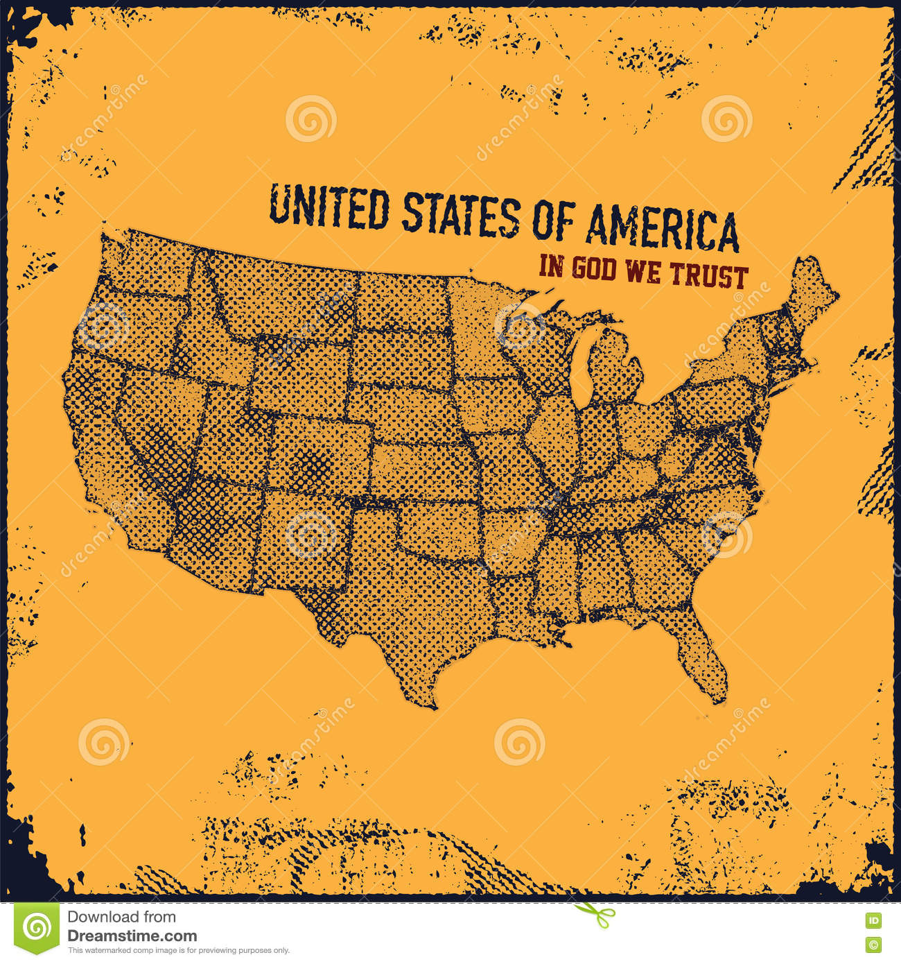 Retro Distressed Insignia With US Map Stock Photo Image - Map of us stock