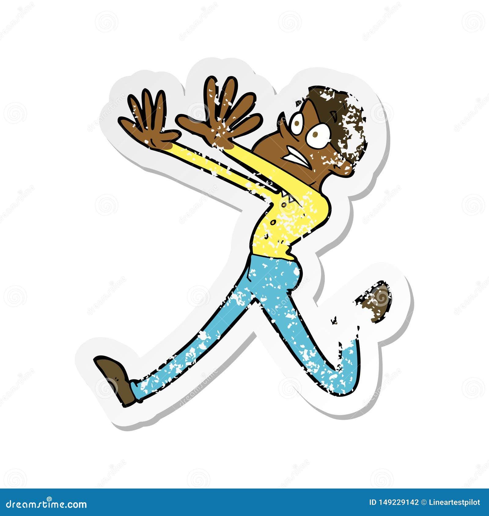 Retro Distressed Sticker Of A Cartoon Man Running Away ...