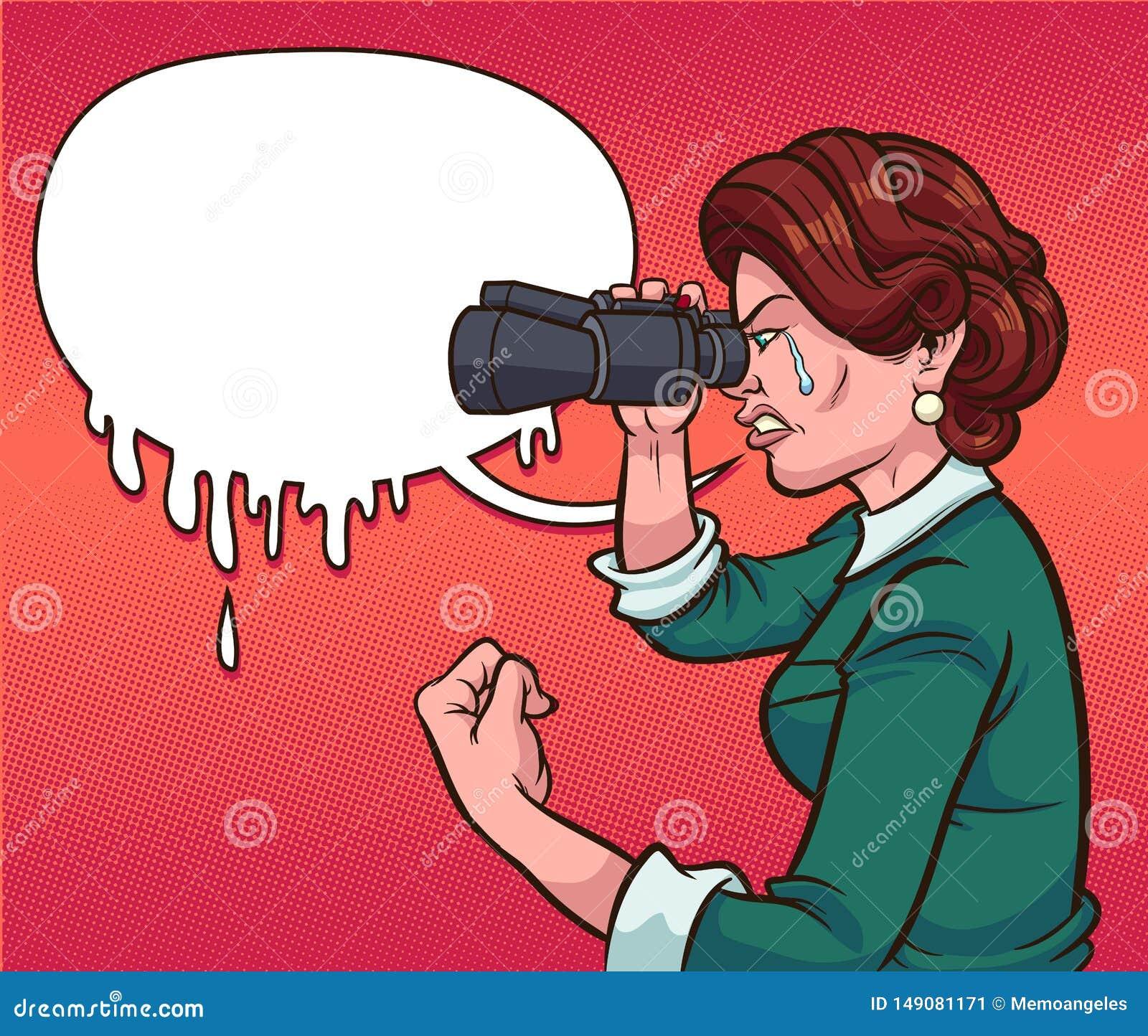 Retro donna che grida mentre guardando tramite il binocolo