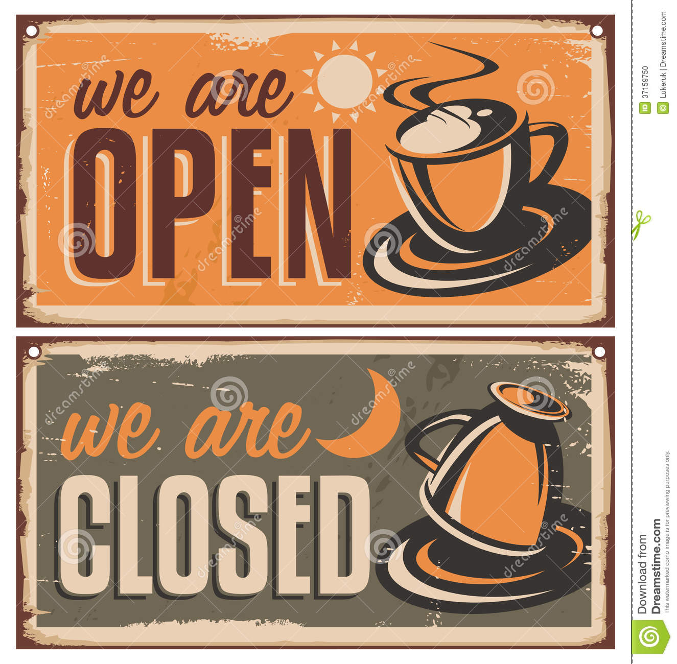 Retro Door Signs For Coffee Shop Or Cafe Bar  House For Sale Sign Template