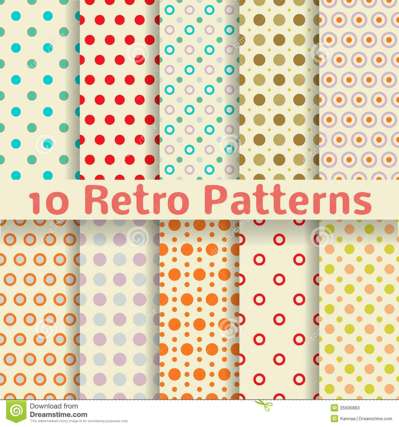 Retro Dot Vector Seamless Patterns tiling Stock Photos