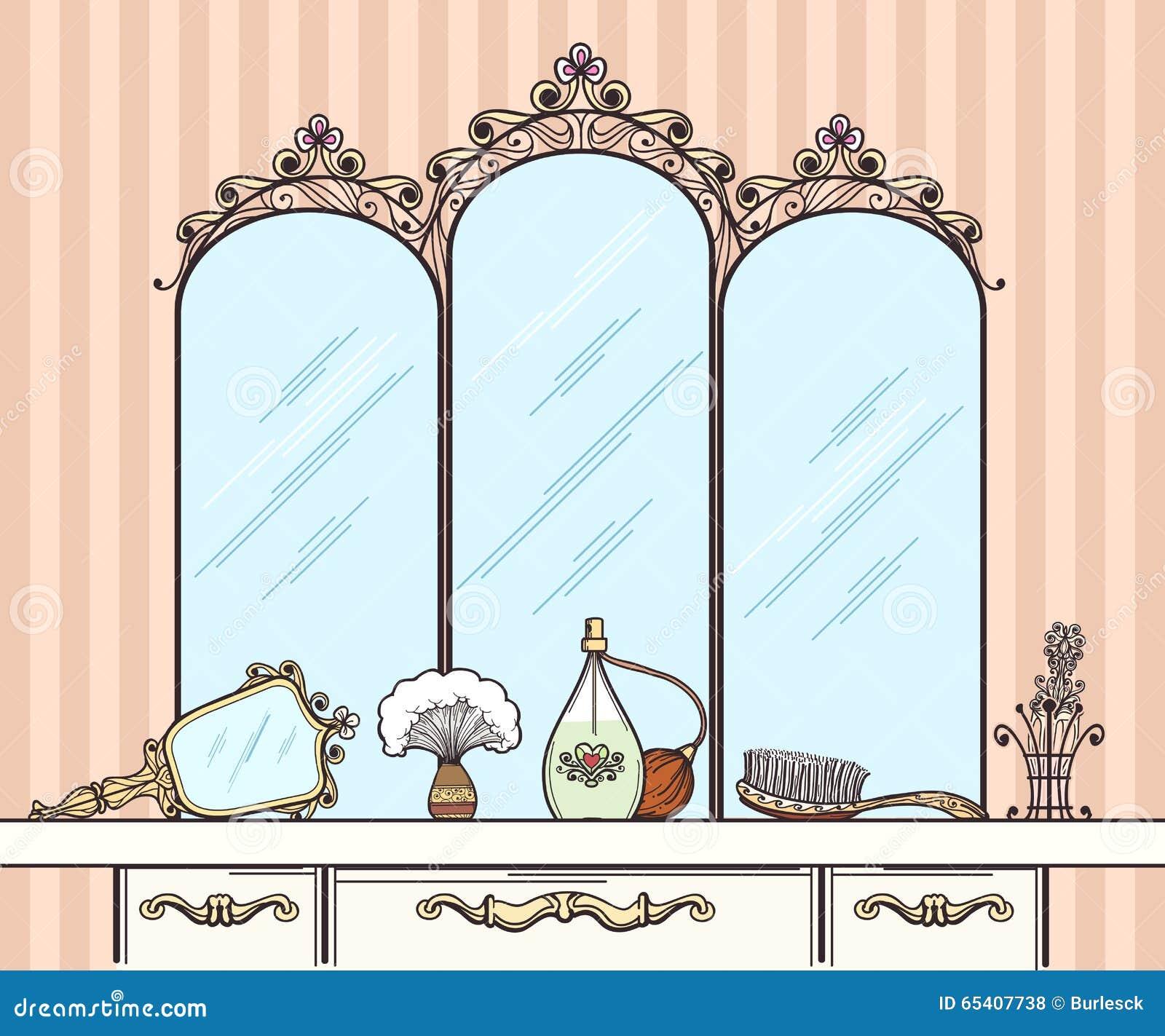 Retro Dressing Table Vector Stock Vector Image 65407738