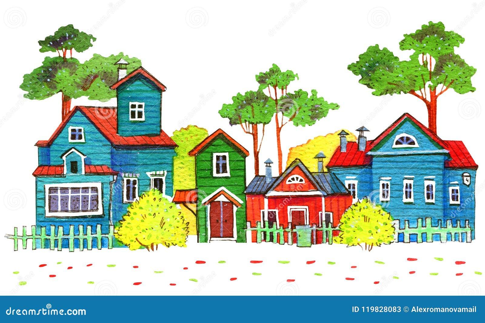Retro drewniani domy w wiosce Ręka rysująca kreskówki akwareli ilustracja