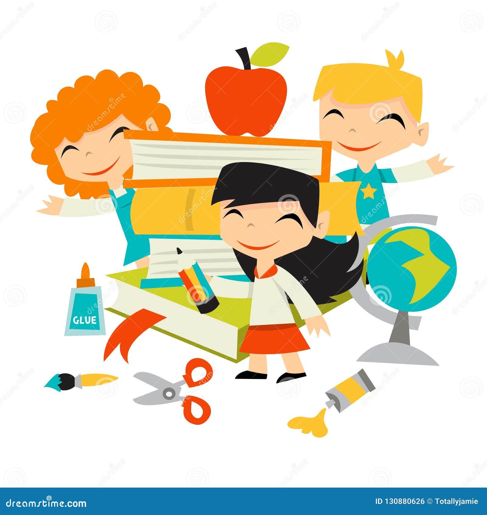Retro dzieciaki Z powrotem szkoła materiały I książki