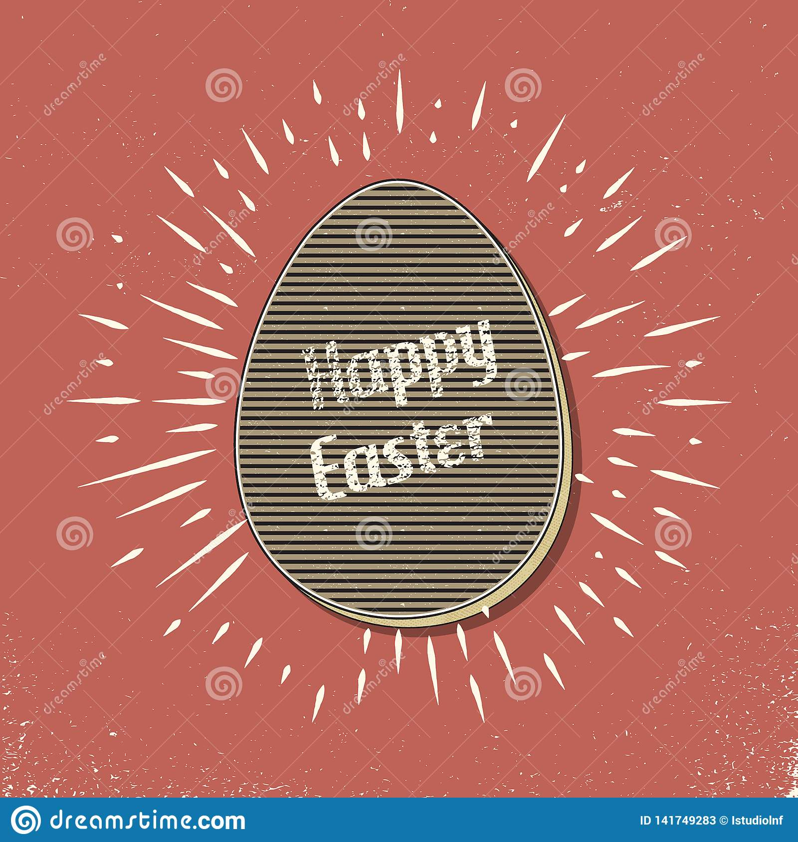 Retro easter egg card illustration for holiday background