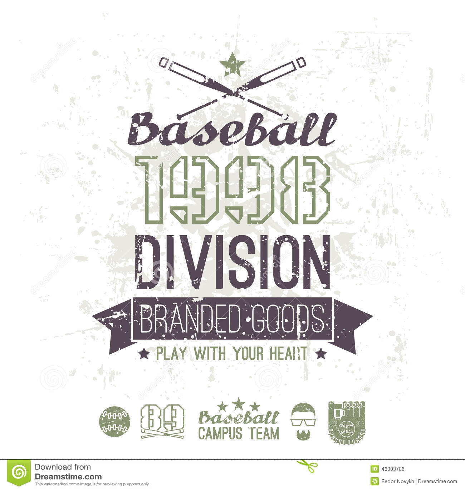 Retro Emblem Baseball Division Of College Stock Vector