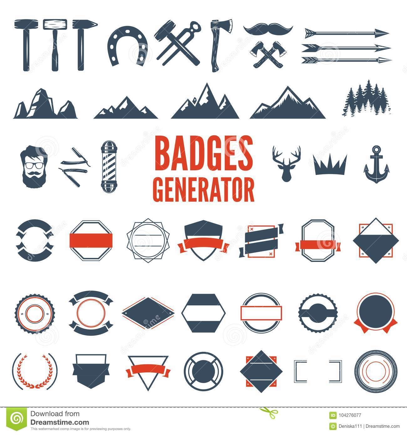 Retro Emblem Generator Is Set Of Icons, Badges, Ribbons And Other