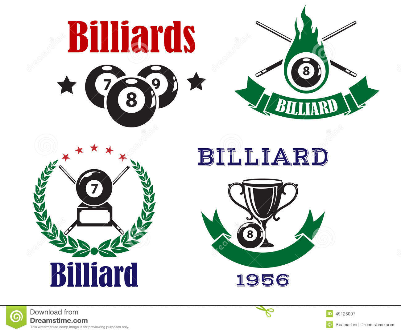 Retro Emblems For Billiards With Cues And Balls Stock