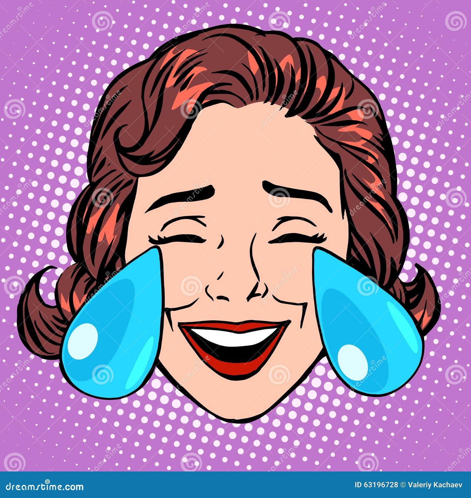 retro emoji tears of joy woman face stock vector illustration of