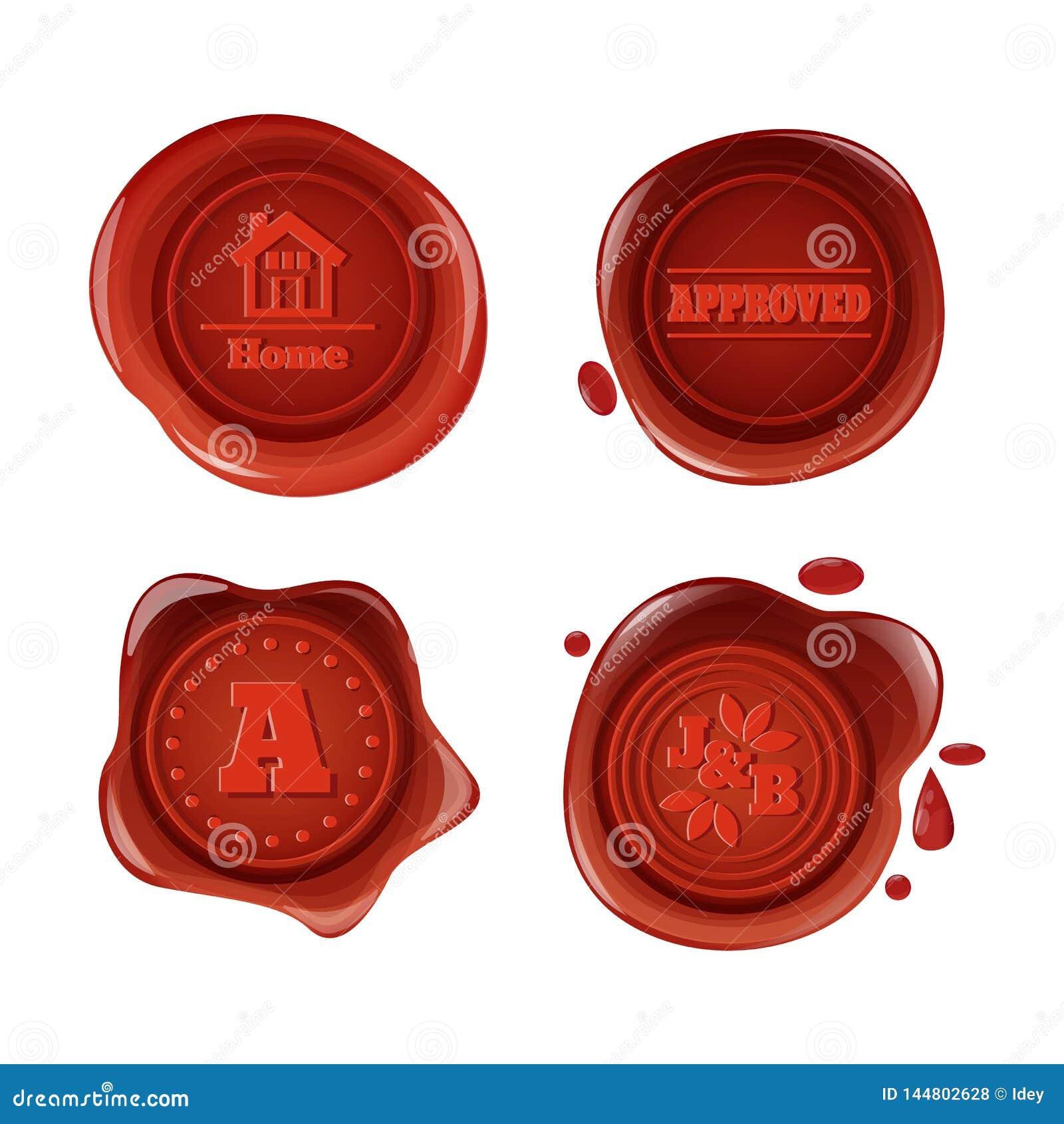 Retro en uitstekende rode wasverbindingen, met emblemen, pictogrammen, pictogrammen