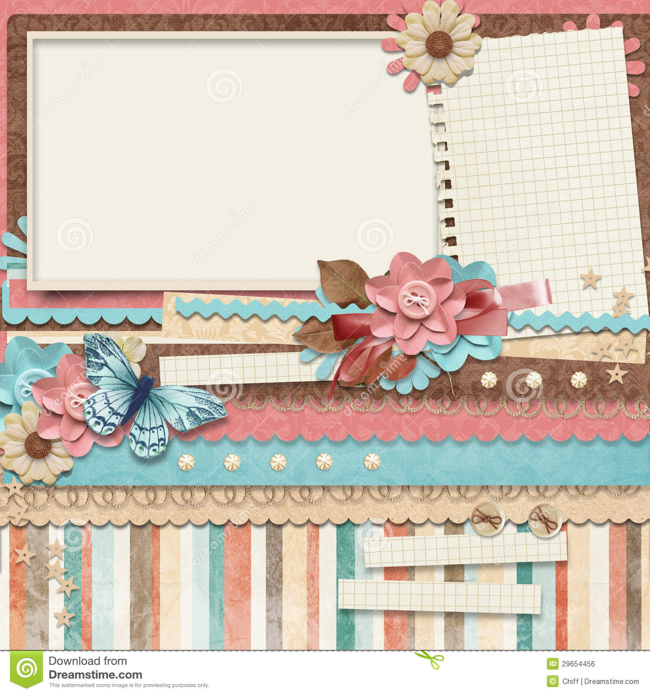 Free Scrapbook Templates | Retro Family Album 365 Project Scrapbooking Templates Stock