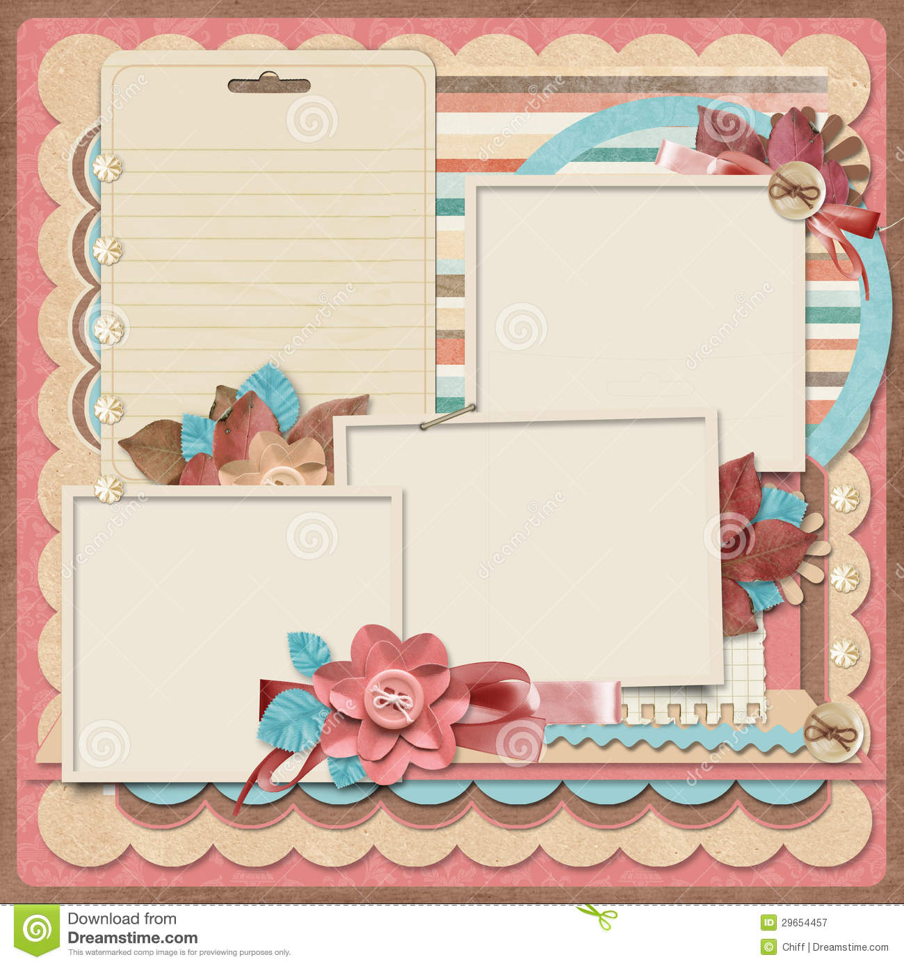 Retro Family Album.365 Project. Scrapbooking Templates. Journal, Holidays.  Photo Album Templates Free