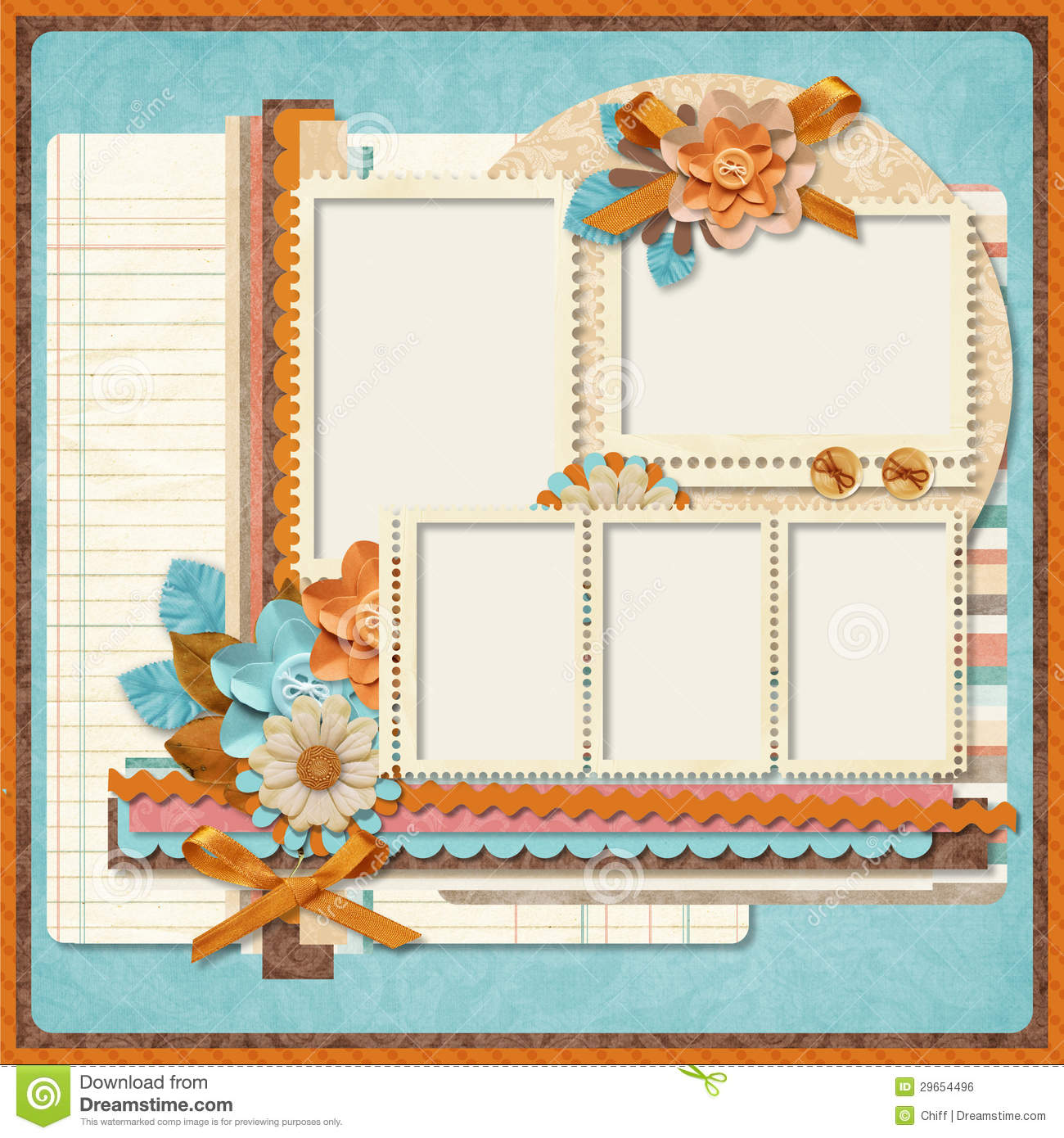 Retro Family Album.365 Project. Scrapbooking Templates.  Free Album Templates