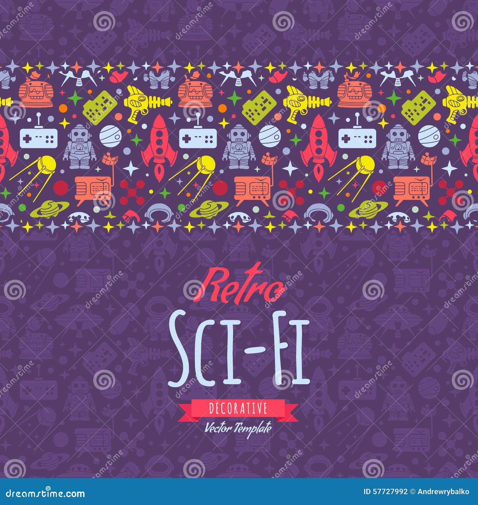 Retro fantastyka naukowa wektorowy dekoruje projekt