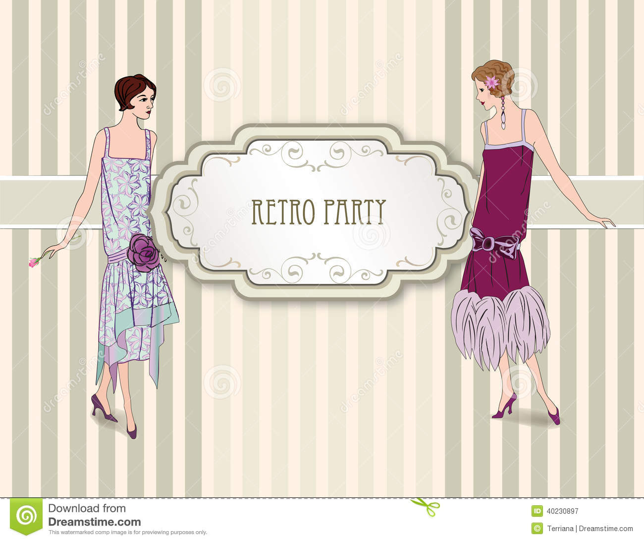Retro Fashion Background Woman On Party 1930s Style Stock Vector Image 40230897